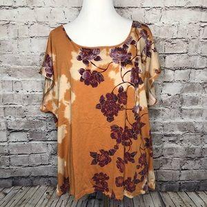 Ett Twa Gold Purple Floral Scoop Neck Knit Top XL